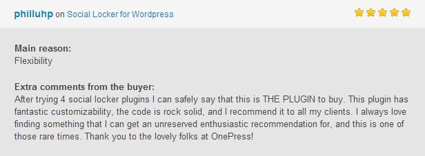 philluhp社会储物柜的WordPress主要额外的灵活性评论的尝试后,社会更衣室插件可以有把握地说,这个PLUGIN购买。 这个插件有梦幻般的可定制性,代码坚如磐石,并建议所有客户端总爱找东西,可以得到毫无保留的热情推荐,而这一次罕见的时代。 谢谢可爱的乡亲OnePress!